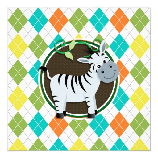 Zebra on Colorful Argyle Pattern Personalized Invite