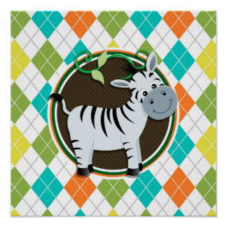 Zebra on Colorful Argyle Pattern Posters