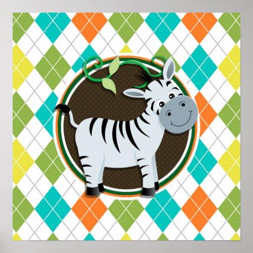 Zebra on Colorful Argyle Pattern Posters