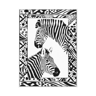 Zebra pair framed canvas art print 18x24""