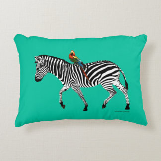 """Zebra & Parrot"" Jade Accent Pillow"