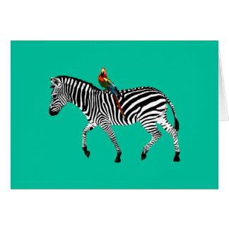 """Zebra & Parrot"" Jade Greeting Card"