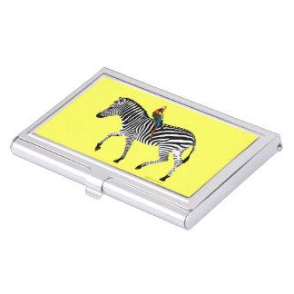 """""""Zebra & Parrot"""" Yellow Business Card Holder"""