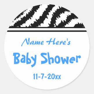 Zebra Pattern Baby Shower. Blue, Black and White. Classic Round Sticker
