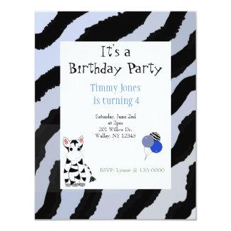 """Zebra Pattern Birthday Invitation 4.25"""" X 5.5"""" Invitation Card"""