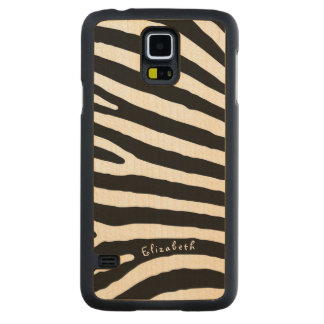 Zebra Pattern, Black & White Stripes, Your Name Carved Maple Galaxy S5 Case