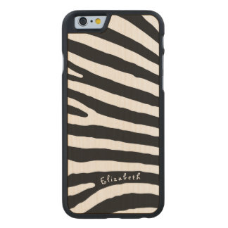 Zebra Pattern, Black & White Stripes, Your Name Carved Maple iPhone 6 Case