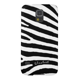 Zebra Pattern, Black & White Stripes, Your Name Case For Galaxy S5