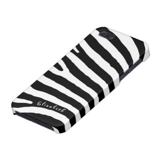 Zebra Pattern, Black & White Stripes, Your Name iPhone 5/5S Cover