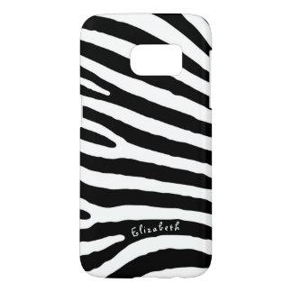 Zebra Pattern, Black & White Stripes, Your Name Samsung Galaxy S7 Case