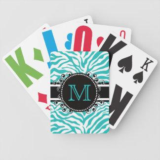 Zebra Pattern Cool Funky Monogram Bicycle Playing Cards