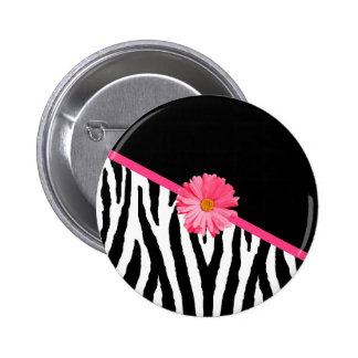 Zebra Pattern Girly Pink Daisy 2 Inch Round Button