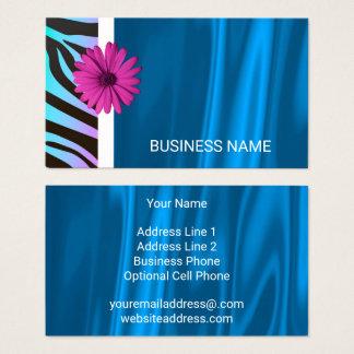 Zebra Pattern Hot Pink Daisy Blue Satin Glamour Business Card
