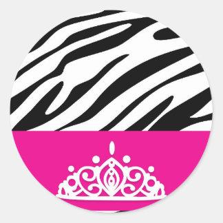 zebra pattern.jpg classic round sticker