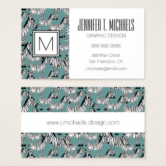 Zebra Pattern | Monogram Business Card
