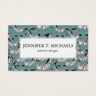 Zebra Pattern | Monogram Business Card
