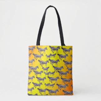 Zebra Pattern On Golden Yellow, Tote Bag