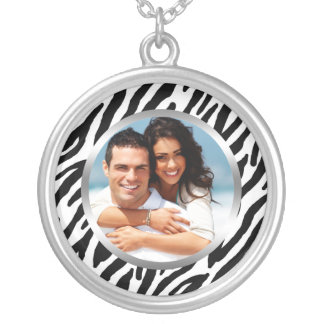 Zebra Pattern Photo Frame Silver Plated Necklace