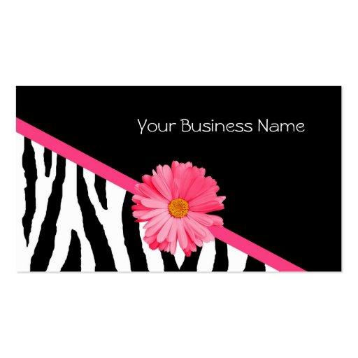 Zebra Pattern Pink Daisy Business Cards