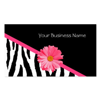 Zebra Pattern Pink Daisy Pack Of Standard Business Cards
