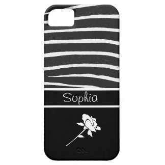 Zebra Pattern+White Rose on black/Personalize iPhone 5 Case
