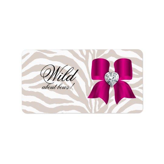 Zebra Pattern with Cute Fashion Jewellery Bow Label