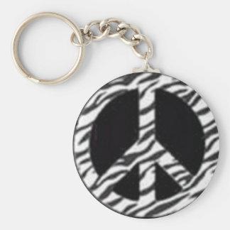 zebra peace keychain