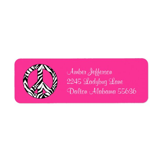 Zebra Peace Sign Address Labels