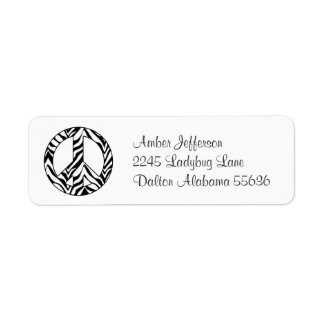 Zebra Peace Sign Address Labels