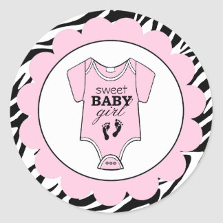 Zebra-Pink Baby Outfit-Baby Shower Round Stickers