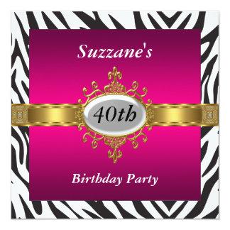 Zebra Pink Birthday Party Invitation