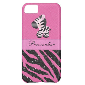 Zebra & Pink & Black Faux Glitter Animal Print iPhone 5C Covers