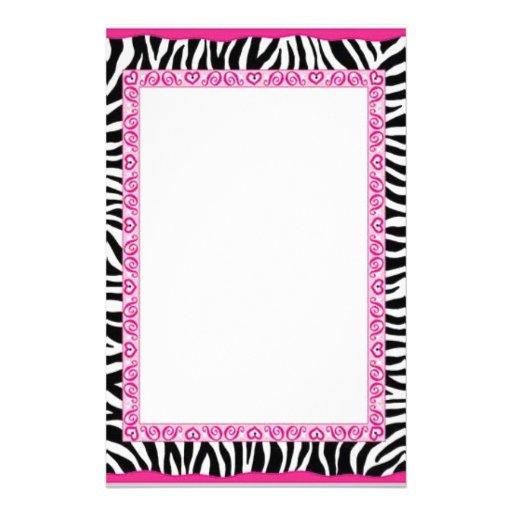 Zebra & pink border custom stationery