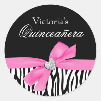 Zebra Pink Bow Diamond Quinceanera Round Sticker