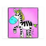 Zebra Pink Cartões Postais