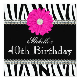 Zebra Pink Daisy Printed Gems 40th Birthday Card