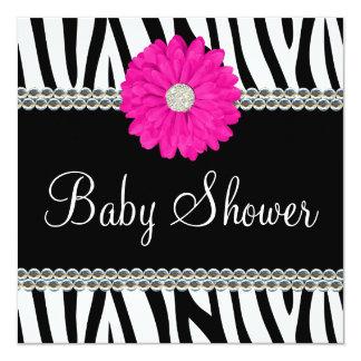 Zebra Pink Daisy Printed Gems Baby Shower Card