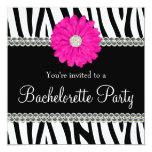 "Zebra Pink Daisy Printed Gems Bachelorette Party 5.25"" Square Invitation Card"