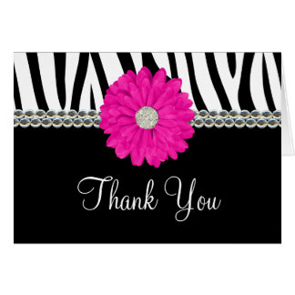 Zebra Pink Daisy Printed Gems Thank You Card