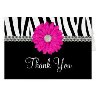 Zebra Pink Daisy Printed Gems Thank You Card