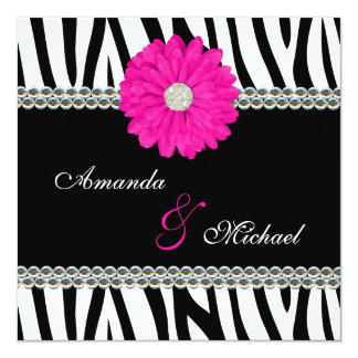Zebra Pink Daisy Printed Gems Wedding Invitations