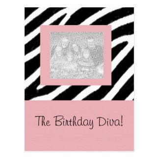 Zebra & Pink Fun Party Frame Card Postcard