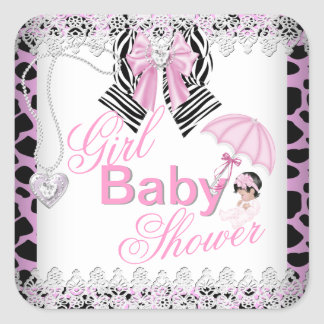 Zebra Pink Girl Baby Shower Lace Square Sticker