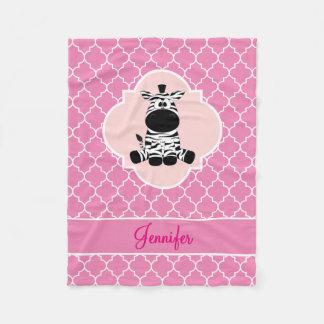 Zebra Pink Quatrefoil with Name Fleece Blanket