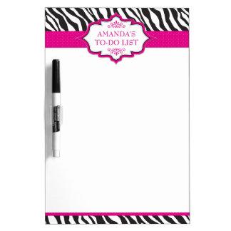 Zebra Pink Ribbon Dry Erase Board