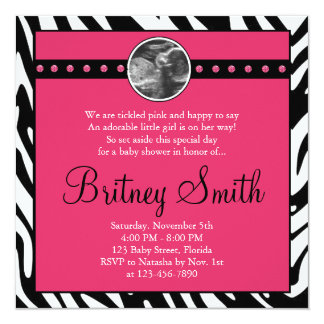 Zebra Pink Sonogram Photo Baby Shower Invitation