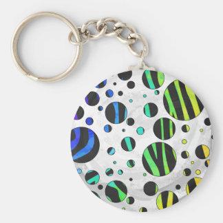 Zebra Polka Dot Black and Rainbow Print Keychain