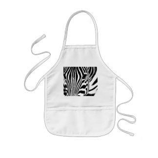 Zebra portrait black and white kids apron