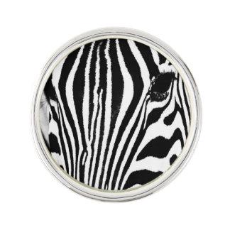Zebra portrait black and white lapel pin