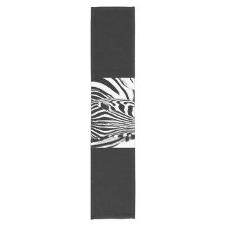 Zebra portrait black and white short table runner